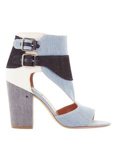 LAURENCE DACADE Rush Multi Denim High Heel Sandals. #laurencedacade #shoes #sandals