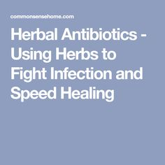 Herbal Antibiotics - Using Herbs to Fight Infection and Speed Healing