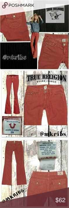 "🔹 True Religion Joey cords flare jeans True Religion 'Joey' coral/salmon color flare corduroys.  Like New!  7.5 inch rise. 34"" inseam. True Religion Jeans"