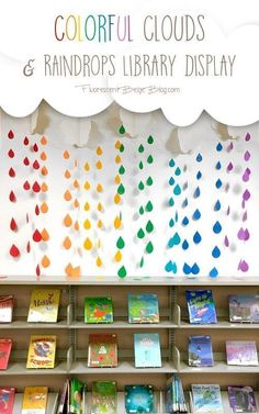 Library Display: Colorful Clouds & Raindrops You've put up with the April showers, now bring on the May flowers! This colorful clouds & raindrops display will brighten up any classroom or learning space. Kindergarten Classroom Decor, Diy Classroom Decorations, Preschool Rooms, Classroom Walls, Classroom Design, Classroom Organization, Space Classroom, Classroom Wall Decor, Classroom Birthday Displays