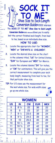 Sock It To Me Shoe Size to Sock Length Conversion Guide, Knitting Equipment - Diy-stricken Loom Knitting, Knitting Socks, Knitting Stitches, Hand Knitting, Knitting Patterns, Knit Socks, Knitting Machine, Sock Loom Patterns, Knitting Help