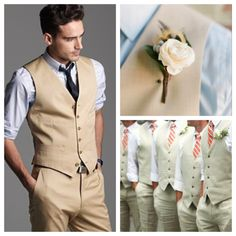Style for groomsmen but with navy pants and vest, white shirt, and bridesmaids color now tie