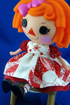 For Lalaloopsy doll Redwork Quilt Pinafore  Darling by nippykat, $20.00