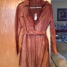Gap leather trench Brand new with tags gap leather trench size small .  Super soft leather.  Had been sitting in my closet for over a year. GAP Jackets & Coats