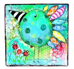 Original Whimsical Artwork Blue and Green Bird Large Gift Box on Etsy - Cottage Chic. $37.00, via Etsy.