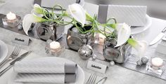 Silver decoration with calla- lilies Bouquet, Centerpieces, Table Decorations, Vase, Gray Weddings, Calla Lily, Wedding Anniversary, Tablescapes, Dining Table