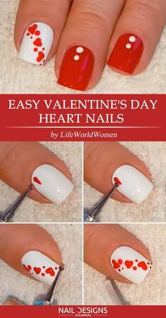 Here are some easy tutorials of hot Valentine's nails designs, from Nail Designs Journal: The holiday is right around the corner and Valentines nails are what you should consider starting from today. It goes without saying that your manicure is bound to l Trendy Nail Art, Cute Nail Art, Diy Nail Designs, Simple Nail Designs, Diy Ongles, Gel Nagel Design, Valentine Nail Art, Valentines, Heart Nails