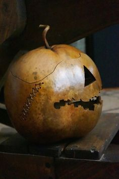 Jack o' Lantern Gourd Halloween Spooky Harvest by ArtDexi - takes up to 1 year to dry gourd before carving and staining.