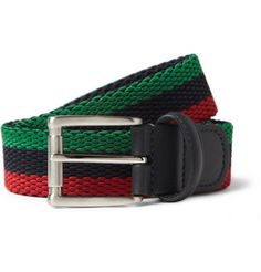 Anderson'sLeather-Trimmed Elasticated Woven Belt £85