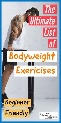 Here is a complete list of bodyweight exercises to target your full body. These exercises are beginner friendly and can be done by men or women. We also show you how to create a workout plan you can do from home! Check it out now. Body Weight Leg Workout, Beginner Full Body Workout, Full Body Workout At Home, Workout Plan For Men, Workout Plan For Beginners, Body Weight Training, At Home Workouts, Workout Plans, Weight Workouts