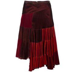 Comme des Garçons Red Velvet Asymmetric Patchwork Skirt 1990