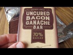Trader Joe's Uncured Bacon Ganache Chocolate Bar Review - http://www.carryhaulwell.com/2015/08/trader-joes-uncured-bacon-ganache-chocolate-bar-review/ - bacon chocolate, bar, candy, chocolate, new, product, review, trader joe's, uncured bacon, video