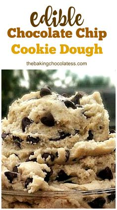 Edible Chocolate Chip Cookie Dough (No Eggs!) - Because who doesn't love to lick all that Chocolate Chip Cookie Dough off of those mixing beaters, before the dough is baked into actual cookies! Cookie Dough No Eggs, Cookie Dough For One, Cookie Dough Recipes, Chocolate Chip Cookie Dough, Edible Cookie Dough Recipe No Brown Sugar, Dessert Recipe Without Butter, Cookie Dough Cake Pops, Keto Cookie Dough, Chocolate Tarts