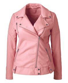 Simply Be PU Pink Biker Style Jacket at Simply Be. I bought this jacket recently and I love it! Plus Size Leather Jacket, Faux Leather Jackets, Blazers, Biker Style, Printed Skirts, Pretty Outfits, Plus Size Outfits, Plus Size Fashion, Casual Outfits