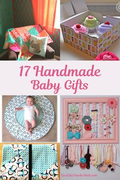 There are so many fun ways to celebrate the upcoming arrival of a baby. Making custom gifts is one of them. Here are 17 great handmade baby items/gifts to show your excitement for a new baby. Custom Gifts, Customized Gifts, Handmade Baby Items, Handmade Crafts, Diy Gifts Cheap, Baby Box, Baby Crafts, Baby Sewing, Baby Quilts
