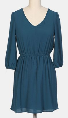 Teal  Black Lace Long-Sleeve V-Neck Dress