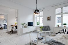 All white living space, with painted white floors White Apartment, Scandinavian Apartment, Dream Apartment, Bedroom Apartment, Home Living Room, Living Spaces, Ikea, Room Interior Design, Interior Architecture