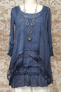 STUNNING-BLUE-2PIECE-TUNIC-DRESS-QUIRKY-ITALIAN-LAGENLOOK-LAYERING-TOP-ONE-SIZE