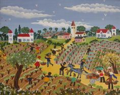 The Grape Harvesters by Marie-Jo Radenac, size: 22cmX27cm. Painting matierial: Acrylic on canvas