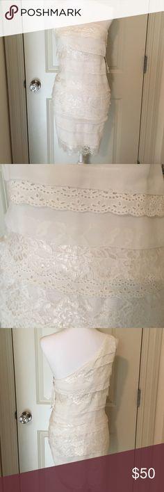 Buffalo one shoulder white lace dress Beautiful tiered lace dress fully lined side zipper Buffalo Dresses Mini
