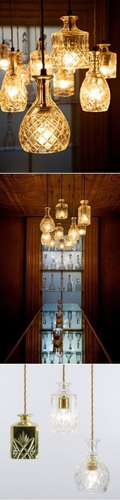 DIY Crystal Decanters As Pendant Lights