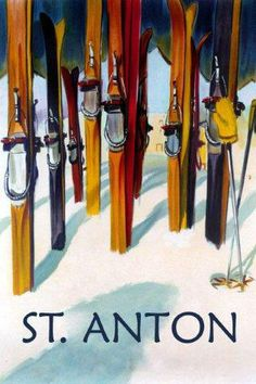 Cannon Mountain, New Hampshire - Colorful Skis - Lantern Press Artwork Giclee Art Print, Gallery Framed, Espresso Wood), Multi Ski Vintage, Vintage Ski Posters, Retro Poster, Vintage Art, French Posters, Poster Poster, Vintage Style, St Anton, Winter Park Colorado