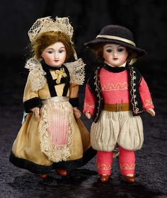 """Interlude"" - Marquis Catalogued Auction - March 11, 2017: 165 Pair, French Bisque Miniature Dolls in Original Brittany Costumes by Unis France"