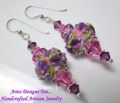 Dark Plum and Rose Floral Lampwork by ariesdesignstoo on Etsy