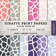 Giraffe Print Digital Paper Set for invites, printing, scrapbooking, crafts, clip art ClipArt, grey, pink, beige, purple, animal print