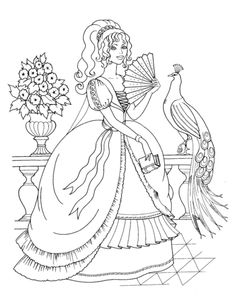 beautiful princess and peacock coloring page from royal family category select from 25105 printable crafts