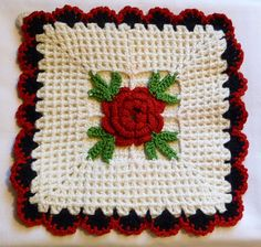 Vintage Crocheted Hot Pads Red Rose with Black by CampHoneybelle