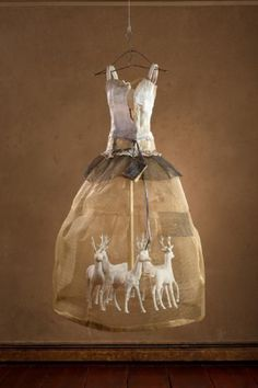 'A Magical Life' by Christina Chalmers. Sculpture in Steel Mesh, Plaster, Oil, and Mixed Media 56 x 30 x 30 - deer
