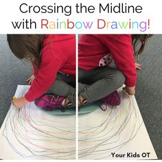 Crossing the Midline with Rainbow Drawing! Your Kids OT. Handwriting for kids motor skills. Gross Motor Activities, Gross Motor Skills, Sensory Activities, Physical Activities, Sensory Rooms, Occupational Therapy Activities, Occupational Therapist, Rainbow Drawing, Rainbow Art
