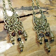 Gypsy Rustic Retreat Chain Chandelier  Earrings by Angelof2, $20.00 - These handmade earrings swing from rustic chain and beaded teardrop chandeliers! Accessorize your Bohemian Gypsy state of mind, attitude and style!
