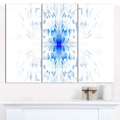 "Designart 'Blue Butterfly Outline on White' Triptych Canvas Art Print - 3 Panels 36""x28"""
