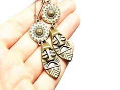 Totem & Shield Earrings - Long Dangle Style - Face and Buckler Armour Charms - Latch Back Kidney Hooks Circle Earrings, Statement Earrings, Bronze Jewelry, Last Minute Gifts, Red Lips, Dangles, Handmade Jewelry, Charmed, Brooch