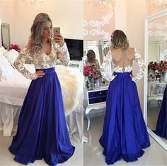 long sleeves prom dresses, A-line prom dresses, white lace prom dresses, open back prom dresses, backless prom dresses, royal blue prom dresses, backless prom dresses, evening dresses, party dresses#SIMIBridal #promdresses