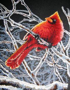 Яркий Ледяной #кардинал от #Дименшенс, размер: 27,9х35,5 см, канва: аида 14 черная, техника: счетный крест. Автор процессов вышивки: Antaliya    ✅Скачать схему: http://stitchlike.ru/p9nb 👈    #зима #птицы #вышиваю #вышивка_крестом #stitchlike_dimensions