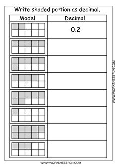 Worksheet Math Models Worksheets decimal fractions and worksheets on pinterest fraction worksheet what is the of shaded part 1 download 2 write represented by each model