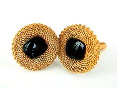 14k Gold Black Onyx Cufflinks Men's Vintage by JewelryQuestDesign, $44.99