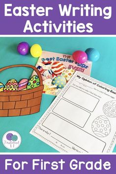 Easter writing activities are a great way to get kids engaged in writing! Students will love this opinion writing activity where they decorate Easter eggs and give their opinion! Includes an opinion writing template and easter craft for kids. #easter #decoratingeastereggs #easteractivitiesforkids