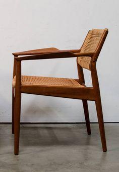 Arne Vodder; Teak and Cane Armchair for Sibast, 1950s.