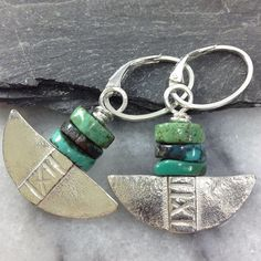 Silver and turquoise tribal blade earrings. £38.00