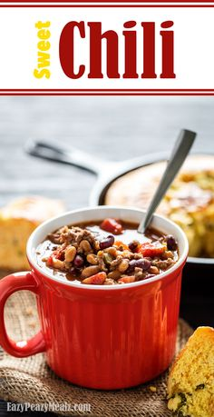 This Sweet Chili was a real hit with my non-chili-loving family. It is sweet and flavorful, with a hint of heat (adjustable), making it a great cold weather meal. Serve it on Halloween if you want to feed a crowd. - Eazy Peazy Mealz