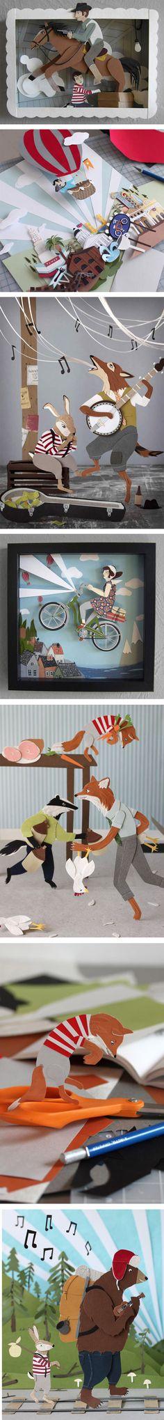 Jayme McGowan et ses illustrations en papier découpé !