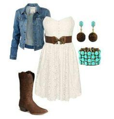 White dress, brown belt, denim jacket, turquoise bracelet, turquoise earrings & brown boots.