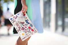 More is more, especially when it comes to stickers.Anya Hindmarch bag.