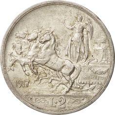 Italy, Vittorio Emanuele III, 2 Lire, 1917, Rome, AU(50-53), Silver, KM:55