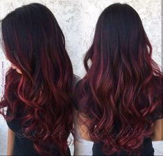 Pin von Jasmine Chai auf Haarsachen im Jahr 2019 Ombre Hair maroon ombre hair Dark Ombre Hair, Hair Color Dark, Ombre Hair Color, Cool Hair Color, Maroon Colour, Burgundy Colour, Red Balayage Hair Burgundy, Dark Red Ombre, Dark Red Hair Burgundy