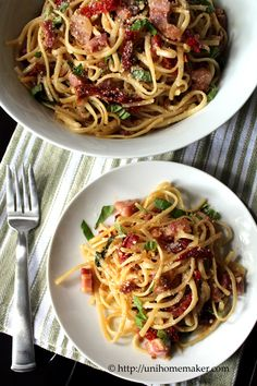 Linguini with Pancetta and Sun-Dried Tomatoes via unihomemaker.com